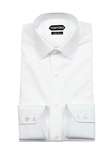 CL - Tom Ford Solid White Signature Dress Shirt with Barrel Cuffs Classic Fit, 17 1/2, 44, 17.5
