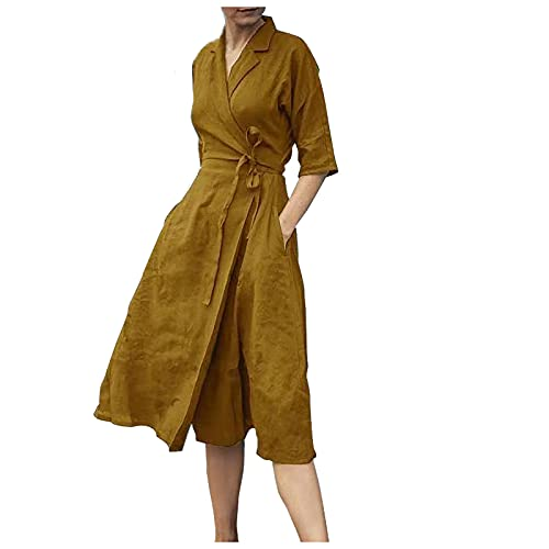 GOUWUCHE Summer Dress Women Short Sleeves Sexy V Neck Beach Dresses Casual Dresses Retro Cotton and Linen Sleeves with Lapel and Big Swing Dresses Yellow