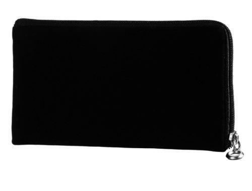 gtsk Handy Tasche Etui Hülle schwarz aus Stoff mit Zipper geeignet für Google Pixel 3a - Ultra Slim ideal für Reisen, Outdoor, Rucksack, Jacken - Reissverschluss Soft Case