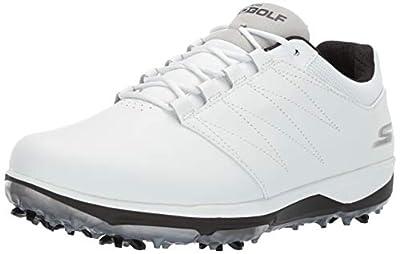 Skechers Men's Pro 4 Waterproof Golf Shoe, White/Black, 9.5 M US