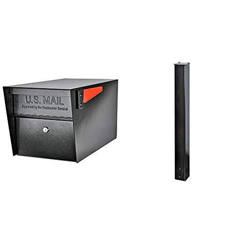 Mail Boss 7506 Mail Manager Curbside Locking Security Mailbox, Black,Large & Boss 7121, Black In-Ground Mounting Post, 43 x 4 x 4 inches, for Use with Mailbox