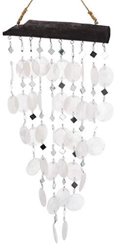 Guru-Shop Muschel Mobile, Ethno Windspiel, Sonnenfänger - Weiß, 60x30x2 cm, Windspiele & Klangspiele