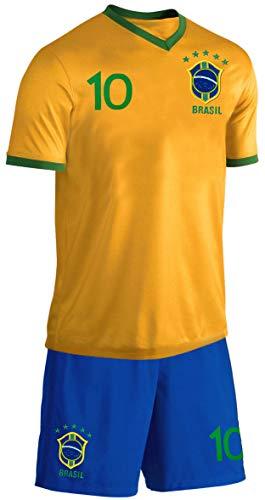 Blackshirt Company Brasilien Kinder Trikot Set Fußball Fan Zweiteiler Gelb Blau Größe 152 Größe 152