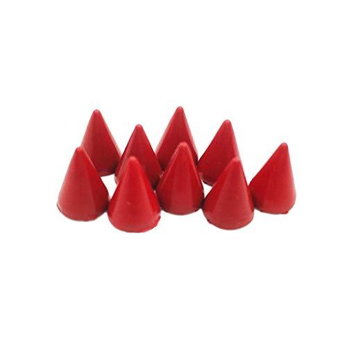 Duradero 100SETS 7x10mm Pintado de Cono Rojo Manchas de Metal Tachuelas espigas Remaches Punk Spike Ropa Bolsas Correa Collares Punk Pico para la reparación de artesanías (Color : Red)