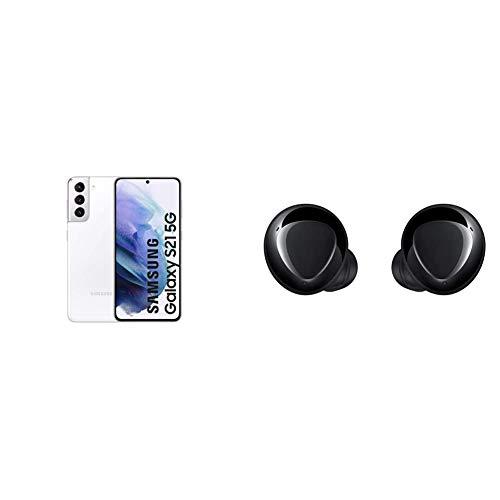 Samsung Galaxy S21 5G Smartphone Android Libre, Pantalla de 6.2' FHD+ 120Hz Dynamic AMOLED, Color Blanco [Versión española] + Samsung Galaxy Buds+ - Auriculares Inalámbricos, Color Negro