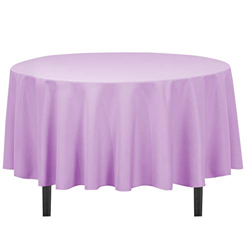LinenTablecloth 90-Inch Round Polyester Tablecloth Lavender