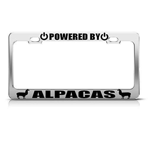 JJIAYI Powered by Alpacas Chrome License Plate Frame Tag Border