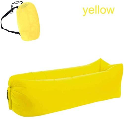WWJL El sueño más rápido a Largo Silla de la Bolsa, Bolsa a Prueba de Agua Plegables de sofá Inflable Bolsas de Dormir Perezoso Acampar Cama de Aire (Color: Amarillo) para Actividades al Aire