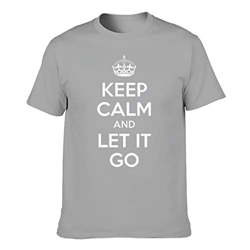Keep-Calm-and-let-go Light Multiple Patterns Short Sleeve T-Shirt for Men and Women ice Gr. 56, grau