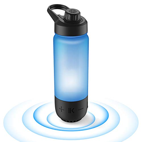 ICEWATER 3-in-1 Smart Water Bottle(Glows to Remind You to Stay Hydrated)+Bluetooth Speaker+Music Dancing Lights,22 oz,Stay Hydrated, Enjoy Music (Deep Black)