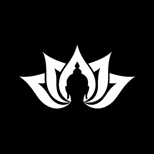 Bonitas pegatinas para coche, decoración de motocicleta, diseño de flor de loto, yoga, meditación, budismo, accesorios decorativos de PVC, 15 cm x 8 cm (color blanco)