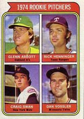 1974 Topps Regular (Baseball) card#602 Abbott/Henninger/Swan/Vossler of the - Undefined - Grade Excellent to Excellent Mint