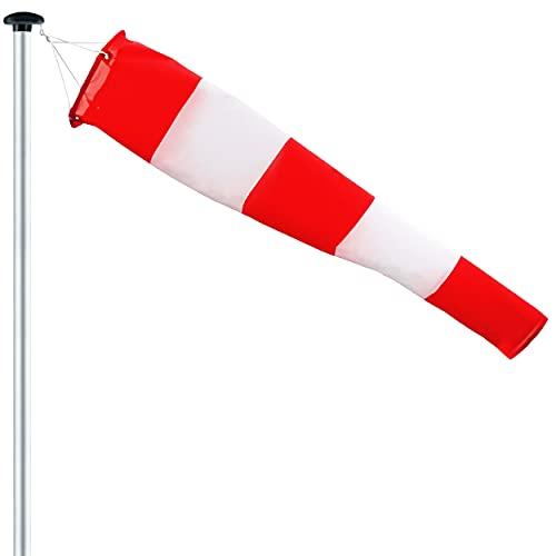 FLAGLY Premium Windsack für Draußen, Windrichtungsanzeiger in Rot Weiß 150x30x15cm inkl. Aufhängung, robustes und witterungsbeständiges, Windanzeiger Made in Germany, Windhose Garten, Wetterfahne