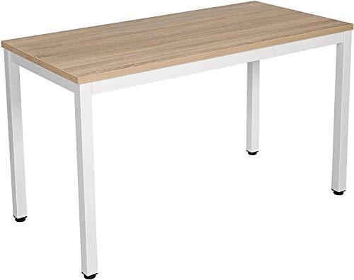 rmg-distribuzione Scrivania Moderna e Robusta per Ufficio casa Studio | 120cm x 60cm x 75cm | Tavolo in MDF di Alta qualità | Telaio e Gambe in Acciao Bianco (Beige)