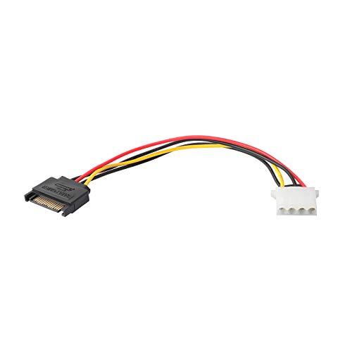 ZSHYBER Adaptador de cable de alimentación SATA, 15 pines SATA a 4 pines IDE/Molex adaptador de cable de alimentación -F/M, 20,50 cm