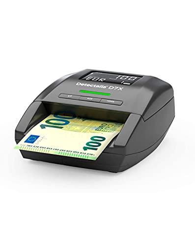 Detectalia D7X - Rilevatore di banconote false EUR, GBP, CHF, PLN, CZK e SEK con 7 controlli di contraffazione e affidabilità al 100%. Non è necessario aggiornare per la valuta euro - 14 x 12 x 6 cm