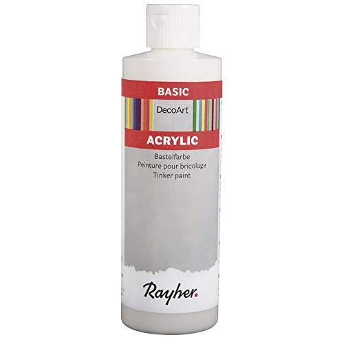 Rayher 38052102 Acrylic Bastelfarbe, weiß, Flasche 236 ml, Bastelfarben für Erwachsene und Kinder, Acrylfarbe auf Wasserbasis
