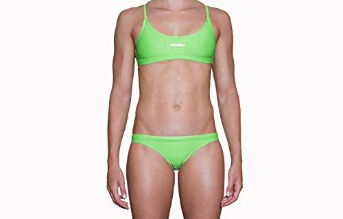 IMPERA Costume da Allenamento Nuoto, Bikini - Due Pezzi da Donna, Resistente al Cloro, possibilità di spaiare Taglia del Top con Taglia dello Slip - Colore Verde Fluo (46)