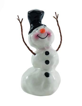 Seyko Deko Schneemann - Carlo - 12 cm Schneemannfigur Weihnachtsfigur Weihnachtsdeko Dekofigur zur Weihnachtszeit Winterdeko