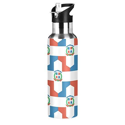 Botella de agua deportiva con bandera de República Dominicana de acero inoxidable 304, botella de agua aislada al vacío con pajita (600 ml)