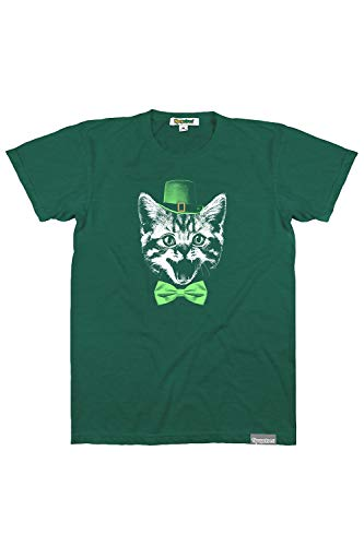 Funny Cat St Patricks Day Tees for Guys Men's St. Catrick's Green T-Shirt Size M