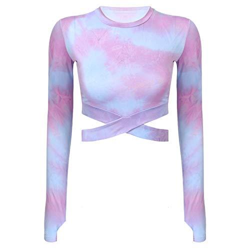 ranrann Top Corto Deportivo Mujer Camiseta Manga Larga Crop Top Camiseta Corta Gimnacia Running Ropa Deportes Morado XS