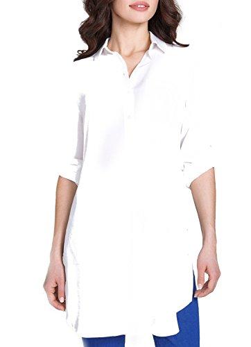 Bestia Elegante damesblouse blouse dames - model Venta - witte blouse met lange mouwen blouse edel lange blouse van crêpestoff