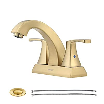 PARLOS 2 Handles Bathroom Faucet with Pop-up Drain and Faucet Supply Lines, Brushed Gold, Doris 1407208