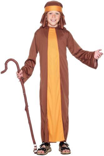 Smiffys- Disfraz de Pastor, Marrón, con túnica y Adorno para la Cabeza, Color, L - Edad 10-12 años (Smiffy'S 23838L)