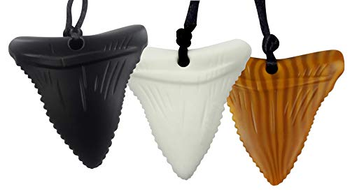 3-Pack Shark Tooth Silicone Chew - Gender Neutral Teething Necklace for Children - Oral Sensory Chewy Teether Necklaces for Autistic Chewers - Chewelry for Boys and Girls