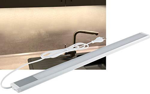 LED Unterbauleuchte Schrankleuchte mit Schalter 60cm Neutralweiß 10Watt 730 Lumen 230V 1,5m Kabel Alu/Weiß