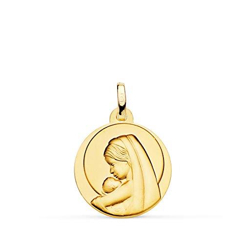 Alda Joyeros Medalla Oro Amarillo18K Virgen Dulce Madre 18mm Niño Jesús