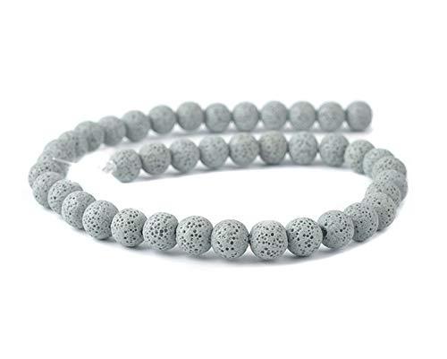 Perline di pietra lavica colorate rotonde roccia vulcanica gemma sciolto per collane, bracciali, gioielli, Pietra lavica, Grigio chiaro, 6mm/ 0.24'