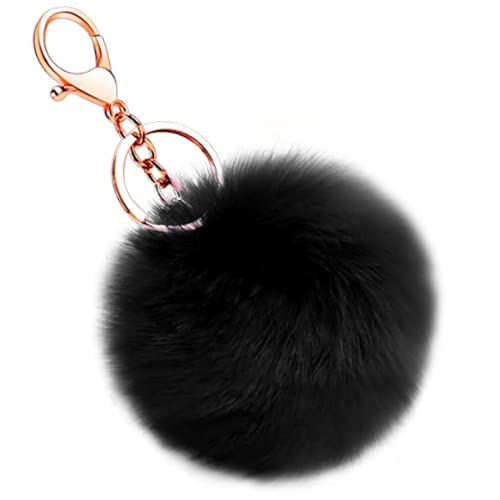 Desconocido Llavero pompon piel conejo artificial, bola suave y bonita, accesorio de bolsos, mochilas, coche. Pom pom decorativo con cierre (Negro)
