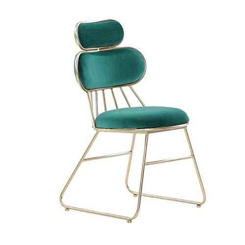 TTWUJIN Soffbord skrivbord nitur nordisk barnmatsalsstol, hem sovrum sminkstol vardagsrum lounge stol lässtol metall kaffestol nagelbutik fåtölj flicka sminkbordsstol, grön