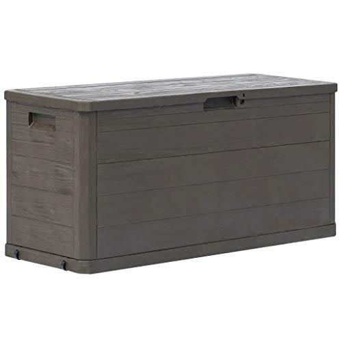 Sunlight Outdoor Storage Box 280 L Garden Storage Shed Weather-Resistant Plastic Garden Storage Box Large, Brown