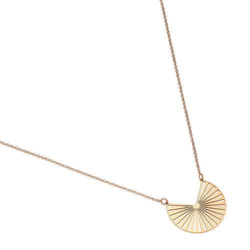 Heideman Halskette Damen Solis aus Edelstahl Silber Gold oder Rosegold farbend poliert Kette für Frauen mit Anhänger rosegoldfarben hc358-3