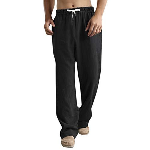 SUMTTER Pantaloni Uomo Lino Pantalone da Spiaggia Larghi Pantalone Tuta Uomo in Cotone Pantaloni Lunghi con Coulisse Pants e Trousers Casual