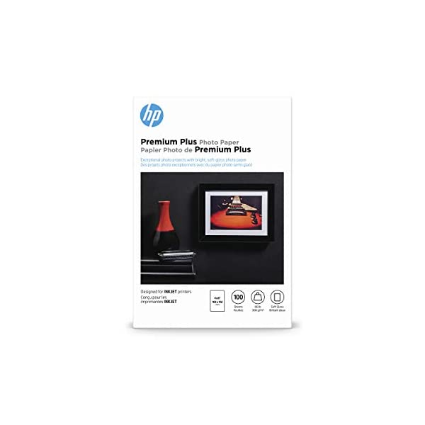 HP Premium Plus Photo Paper, Soft Gloss, 4×6, 100 Sheets (CR666A)