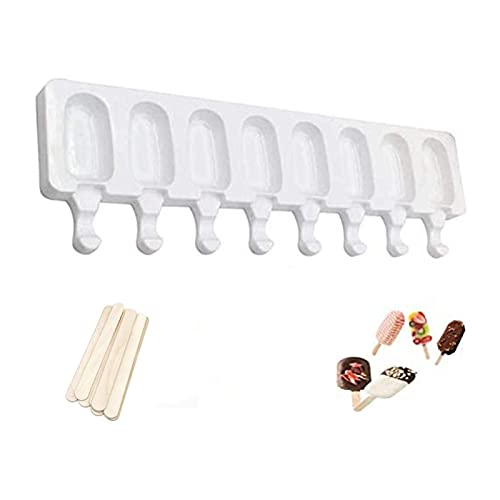 Popsicle Molds,8 Cavities Easy Release Silicone Popsicle Molds, DIY Homemade Dessert Freezer Fruit Juice Ice Pop Maker Mould with Sticks,Ice Cream Mold Ice Pop Molds with 20 Wooden Sticks