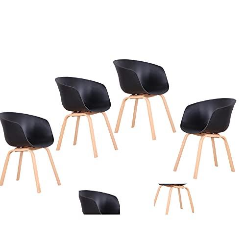 Chaise de salle à manger nordique rétro avec dossier simple - Noir - 4
