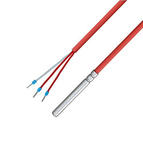 PT100 - Sensor de temperatura de 3 conductores con cable de silicona hasta 200 °C, 10 metros