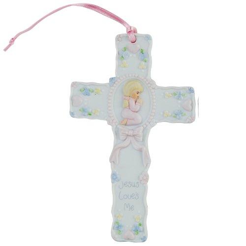 Pacific Giftware Jesus Loves Me prière Petite Fille Croix Statue en Porcelaine Bisque Finition Figurine, 14 cm W