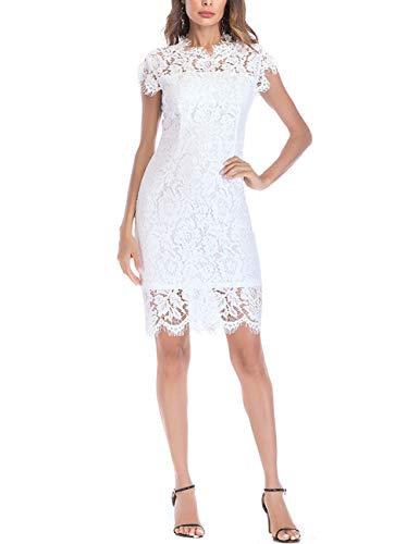 FEOYA Etuikleid Weiß Elegant Knielang Damen Umstandskleid Festlich Hochzeit Sommerkleid Spitzenkleid Kurz Ärmellos Abendkleider für Hochzeit Partykleider 38