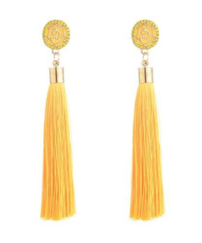 Pendientes amarillos largos de flecos