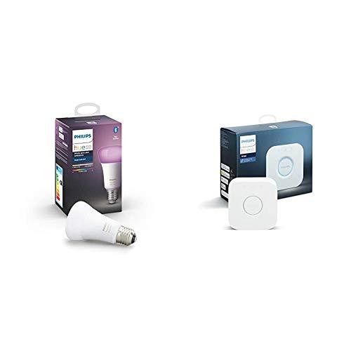 Philips Hue Bombilla Inteligente LED E27, con Bluetooth, Luz Blanca y Color + Hue Puente de Conexión Controlable vía WiFi, Iluminación Inteligente, Compatible con Alexa y Google Home