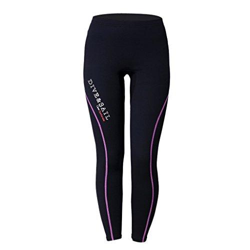 1.5mm Neopren Hosen Pants Neoprenanzug Badeanzug Badehose Schwimmhose Surfhose für Herren Damen - Lila für Frauen, L
