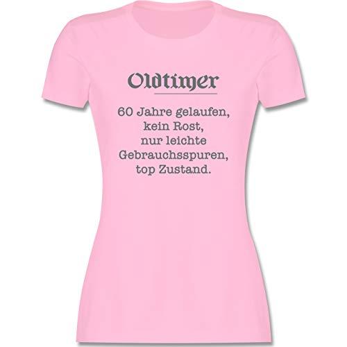 Geburtstagsgeschenk Geburtstag - 60. Geburtstag Oldtimer Fun Geschenk - L - Rosa - Tshirt Damen zum 60.Geburtstag - L191 - Tailliertes Tshirt für Damen und Frauen T-Shirt