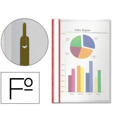 Esselte Carpeta dossier fastener, Plástico, Con tarjetero, Tamaño folio, Pack de 50, Rojo, 33302