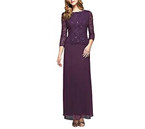 Full-length occasion gown with sequined-lace bodice and three-quarter sleeves featuring flowing A-line skirt V-back with concealed zipper This style is available in Regular, Plus Size and Petite on Amazon.com
